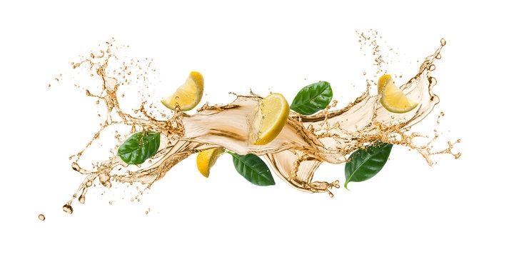 tea wave splashing with tea leaves and lemon slices, isolated on white.