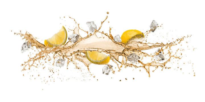 tea wave splashing with lemon slices and ice cube, isolated on white.
