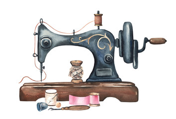 Watercolor vintage sewing machine. Black metall antique sewing machine, thimble, thread, centimeter tape.