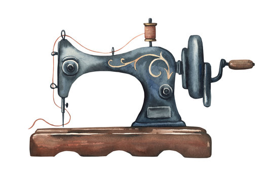 Watercolor vintage sewing machine. Black metall antique sewing machine.