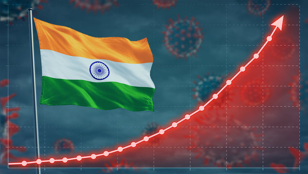 Coronavirus COVID-19 in India cases growing Concept with the national flag.