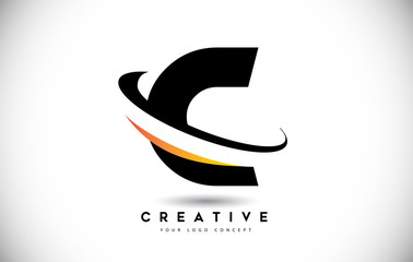 Letter C Swoosh Logo With Creative Curved Swoosh Icon Vector.