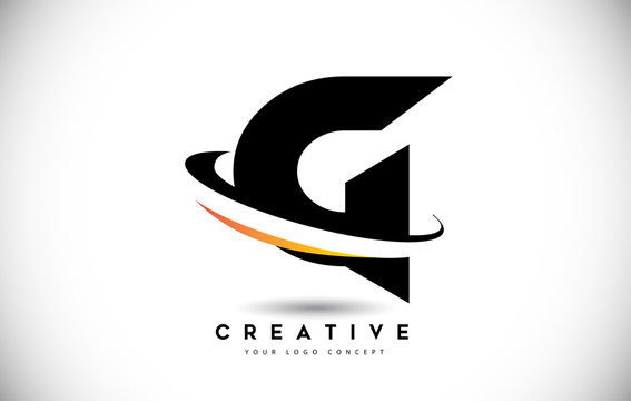 Letter G Swoosh Logo With Creative Curved Swoosh Icon Vector.