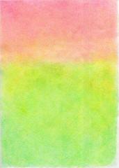 色鉛筆の質感の、緑とピンクのグラデーションの、春色の背景素材