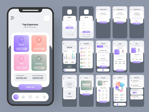 Mobile App Ui Kits with Different GUI Layout Including Sign in, Sign Up, Forgot, Reset Password, Top Expenses and Trading Screens.
