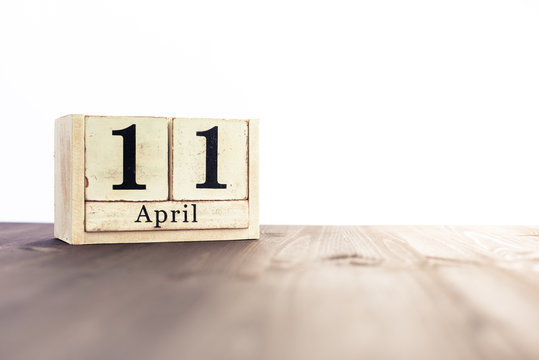 April 11th, fourth month of the clendar - copy space for text next to April symbol