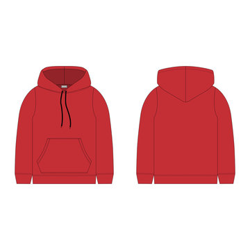 Children's hoodie in red color isolated on white background.
