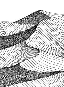 Abstract desert sahara landscape. Line art hand drawn illustration. Desert landscape view. Sand dunes line drawing vector. Black and white mountain view, summer poster design. Summer holidays art work