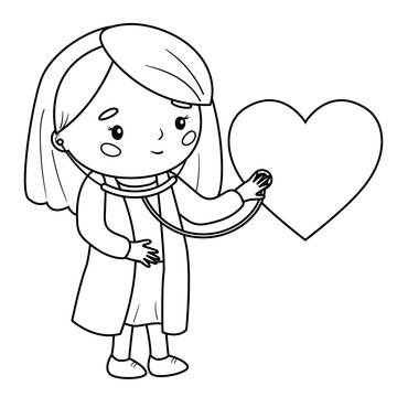 Medicine coloring page for children. Doctor listen the heart with stethoscope. Outline vector illustration. Healthcare for kids.