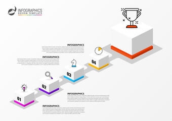 Wall Mural - Infographic design template. Creative concept with 4 steps