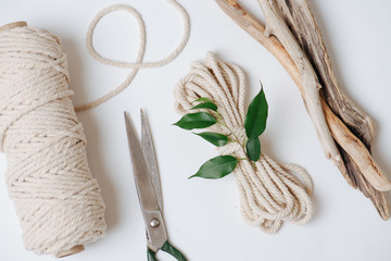 Everything for weaving macrame, rope, scissors and sticks