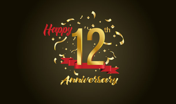 Anniversary celebration background. with the 12th number in gold and with the words golden anniversary celebration.