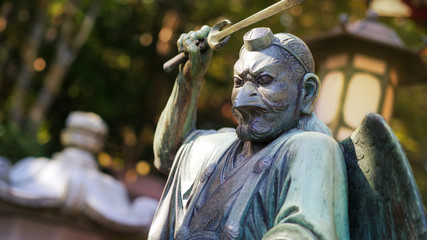 A statue of Tengu, supernatural being from japanese legends