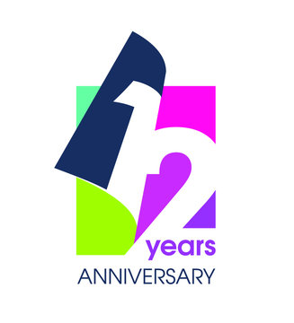 12 years anniversary colored logo isolated on a white background for the celebration of the company. Vector Illustration Design Template