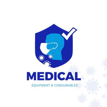VIRUSMan wearing medical mask, vector logo-icon