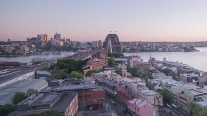 Foto En Lienzo - timelapse Aerial view of Sydney with Harbour Bridge, Australia