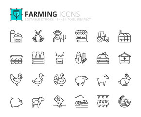 Simple set of outline icons about farming