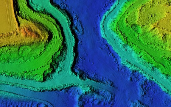 DEM - digital elevation model. GIs product made after proccesing pictures taken from a drone. It shows excavation site with steep rock walls