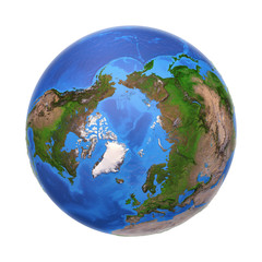 Wall Mural - Arctic from space in summer, with high bump effect