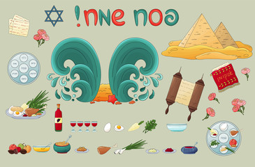 Happy Passover jewish traditional pesach icons, decorated elements. Passover plate, four wine glass,matzah, star of David,flowers, food, pyramid, sea, miracle. Passover symbols collection, pesach in h