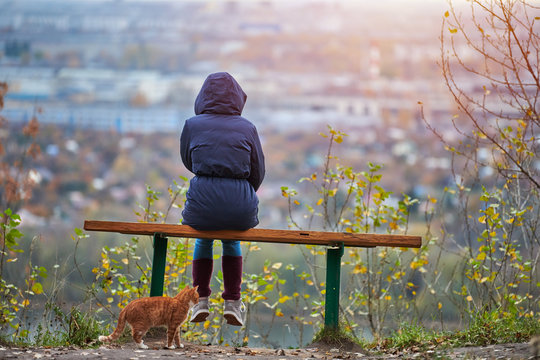 Young woman sitting on bench in autumn city park and looking at cityscape, back view