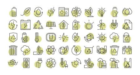 sustainable energy alternative renewable ecology icons set line style icon