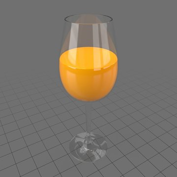 Wine glass with orange juice