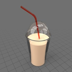 Plastic milkshake cup with straw