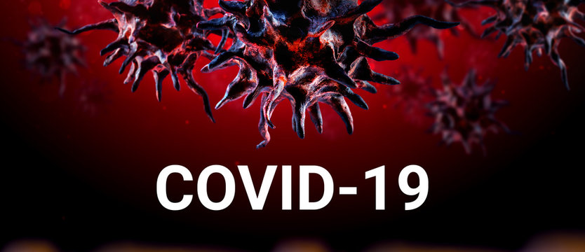 COVID-19 infectious disease caused by severe acute respiratory syndrome coronavirus on red tone that Built by molding with clay and painted