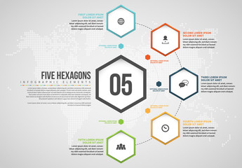 Five Hexagons Infographic Layout