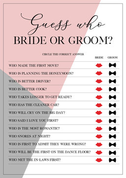 Guess Who Bride or Groom Game, Bridal Shower Games, printable vector card