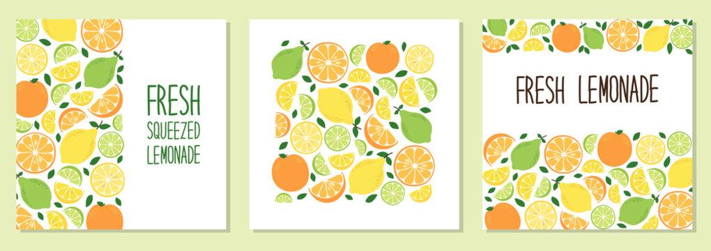 Cute set of Citrus Fruits Lemon, Lime and Orange backgrounds in vivid tasty colors ideal for Fresh Lemonade