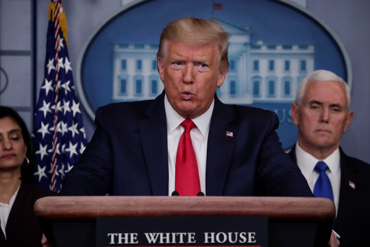 U.S. President Trump speaks about coronavirus response during task force daily briefing at the White House in Washington