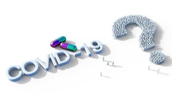 COVID-19 coronavirus concept. Pill capsules for treatment of COVID-19. Novel corona virus outbreak, epidemic spread in world. Coronavirus medicine on white background.