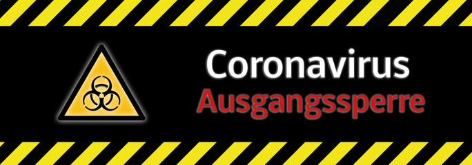 Stores à enrouleur Pierre, Sable Banner Biohazard Coronavirus Covid-19 Ausgangssperre