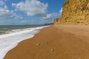 Wall Mural - Beautiful Dorset golden sand beach Jurassic coast England UK between Freshwater and West Bay