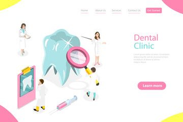 Isometric flat vector landing page template of dental checkup.