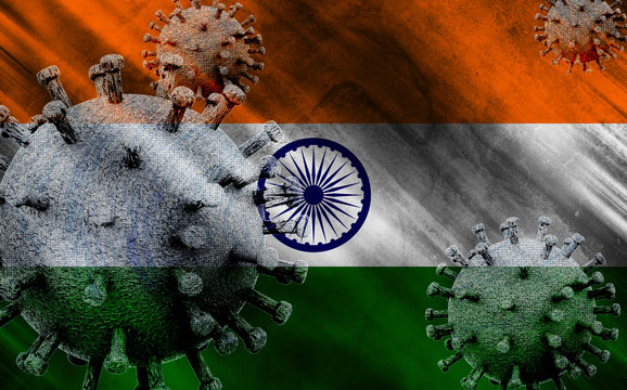 3D illustration of the flag of India with coronavirus COVID 19