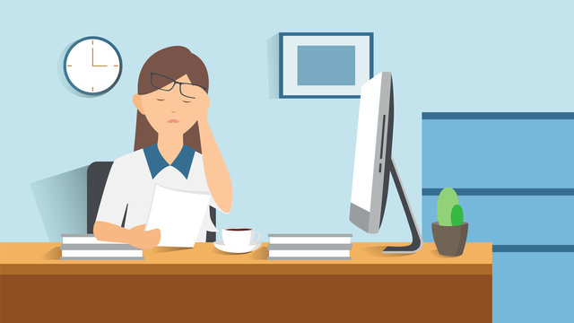 Woman clutching her head in desperate. Stressed cartoon business woman in office computer papers and documents. Stress at work. Overworked. Vector illustration in flat design