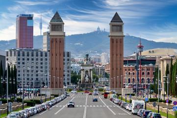 Door stickers Barcelona Barcelona cityscape and skyline