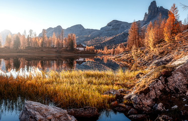 Fotomurales - The beautiful nature landscape. Great view on Federa Lake early in the morning. The Federa lake with the Dolomites peak, Cortina D'Ampezzo, South Tyrol, Dolomites, Italy. popular travel locations.