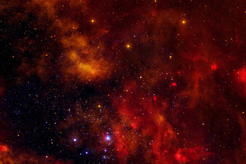 Beautiful galaxy of red color with stars. Elements of this image were furnished by NASA.