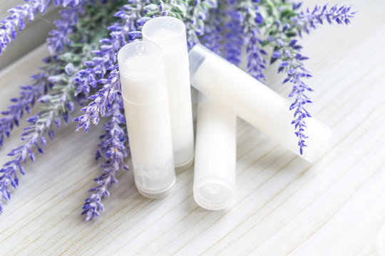lip balm with lavender. DIY lipstick made from natural eco-friendly ingredients.
