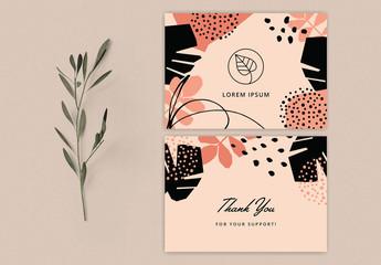 Tropical Thank You Card Template Design