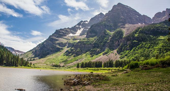 Shoreline of beautiful Crater Lake Aspen Colorado USA