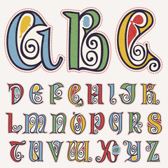 Alphabet in true celtic knot-spiral style.