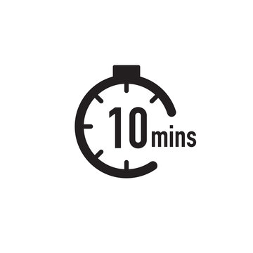 10 minutes timer, stopwatch or countdown icon. Time measure. Chronometr icon. Stock Vector illustration isolated on white background.