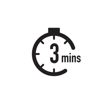 3 minutes timer, stopwatch or countdown icon. Time measure. Chronometr icon. Stock Vector illustration isolated on white background.