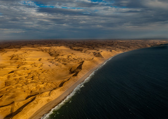 Aerial picture of the so called Great Wall at the Atlantic Ocean on the Skeleton Coast in western Namibia