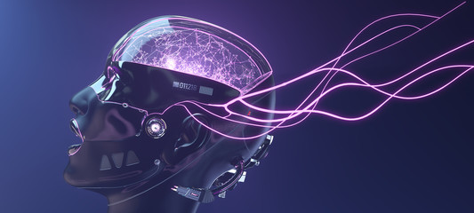 Female cyborg face with pink neon lines, futuristic robotic art, 3d render